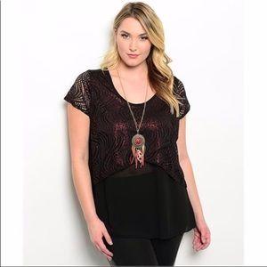 New Black lace burgundy shirt 1x